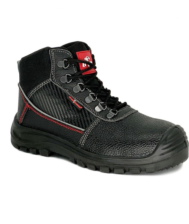Black Hammer Mid Cut Safety Shoes Black BHS201610