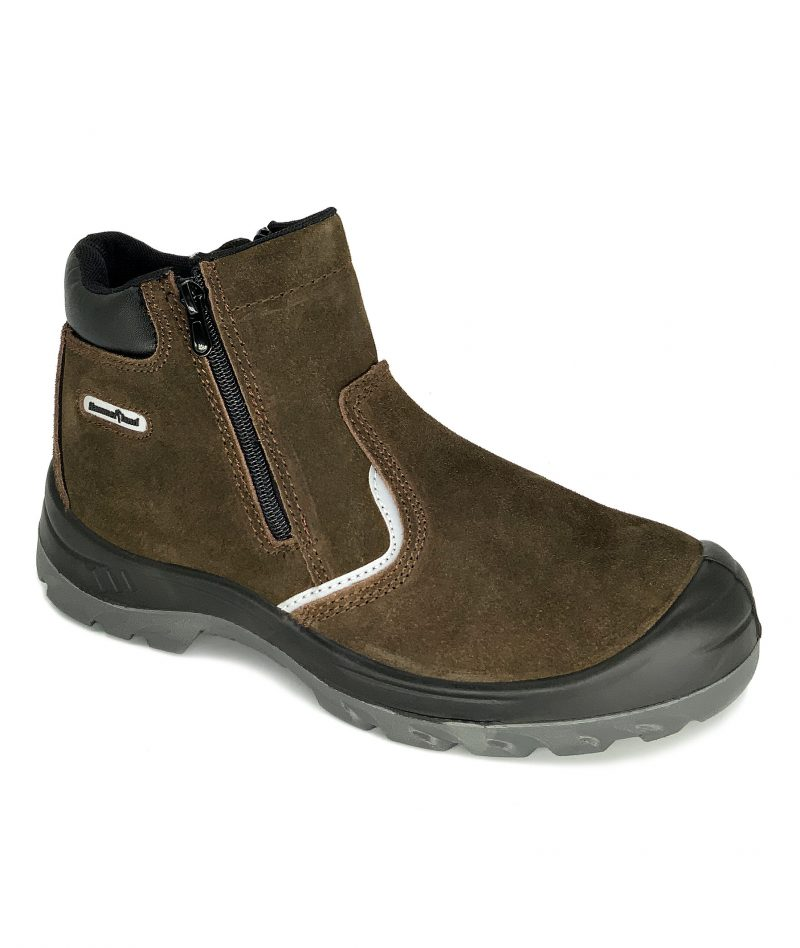 Hammerland Mid Cut with Double Zip Safety Shoes Brown HAM-2002RS