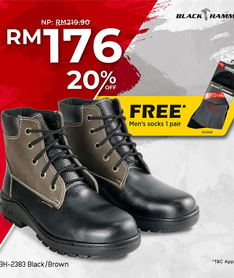 2000 Series Mid Cut with Shoelace Safety Shoe BH2383 (FREE 1 SOCKS)