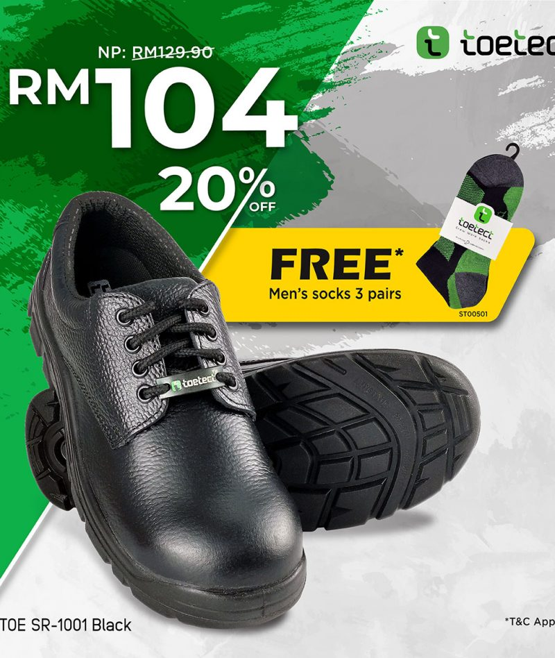 Toetect Low Cut Safety Shoes TOE-SR1001 (FREE SOCKS 3 PAIRS ST00501)