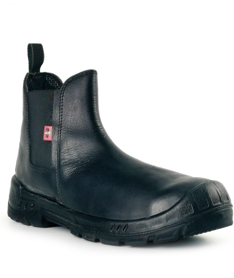 Black Hammer Men Chelsea Mid Cut with Zip Safety Shoe BH-977-SI