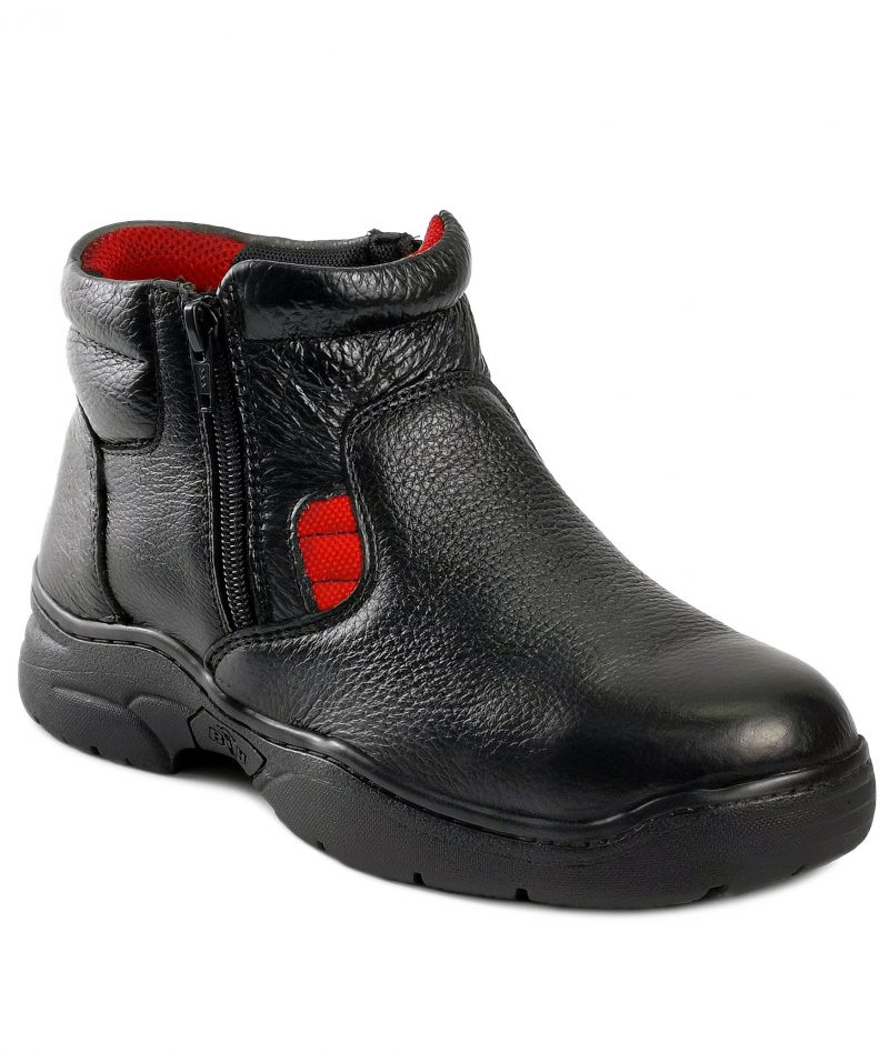 Black Hammer Ladies Mid Cut Zip On Safety Shoes BH3882